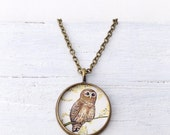 BARRED OWL NECKLACE Bronze / Barred Owl Jewelry / Animal Necklace / Art Necklace / Unique Necklace / Bird Necklace / Owl Gift