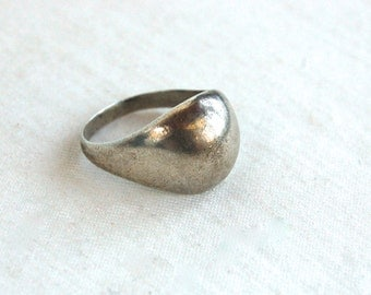 Sterling Silver Dome Ring Size 7 Vintage Mexican Modernist Jewelry Minimalist Everyday Ring