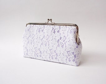 Lilac Wedding Party / Bridesmaid Chantilly Lace Clutch, choose your own initial option / Fall Bridesmaid Gift /  Ready to Ship