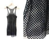 Black Mesh Shirt Dress (Small - Medium)