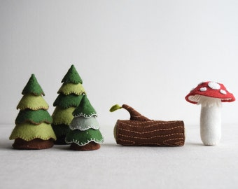 Woodland playset sewing pattern – DIY embroidery sewing pattern for toadstool, log and trees softies – woodland theme soft toy tutorial