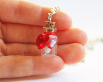 Valentine's Day Necklace with your Message in a Bottle, Paper Anniversary Gift, Red Heart Necklace Tiny Vial, Personalized Necklace Gift