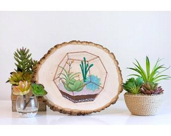 Succulent string art, geometric terrarium, succulent painting on wood, succulent art on wood, wood slice painting, succulent wall art