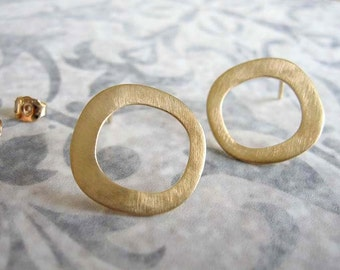 Asymmetric circle gold stud earrings , Gold post  earrings , Handmade by Adi Yesod