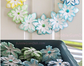 Colorful Ombre Easter Decor Spring Decor Pastel Rainbow Easter Wreath Paper Flower 12 inch