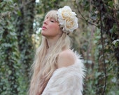 Large ivory rose flower  crown, flower garland, Lana Del Ray, wedding headpiece, floral hairpiece