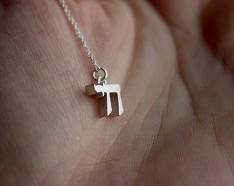 Tiny Chai Necklace - Sterling Silver 3d Printed