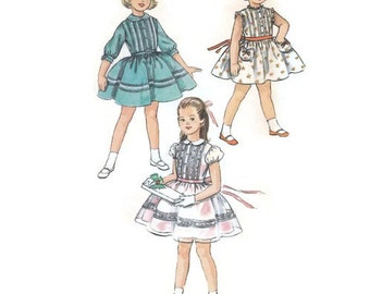 1950s Girls Party Dress with Full Skirt & Pin Tucked Bodice, Flower Girl Dress, Sunday Dress, Size 4 Simplicity 2322 Vintage Sewing Pattern