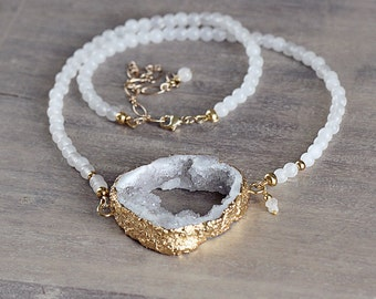 White Druzy Necklace - White Statement Necklace - White Jade, Druzy and Diamond Necklace - Party Necklace - Unique Wedding Necklace