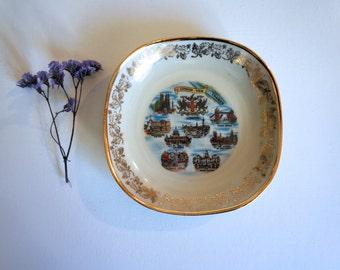Vintage London Souvenir - London Souvenir Plate - Pin Tray - London View Thames Buckingham Palace