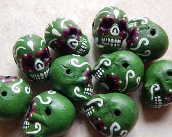 """22X17mm Green """"Day of the Dead"""" Ceramic Handcrafted Skull Pendant - Bead, 1 PIECE (N5-Indoc599)"""