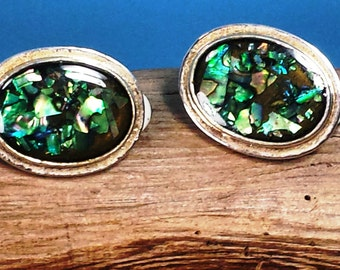 Vintage Silver Tone Abalone Clip Earrings