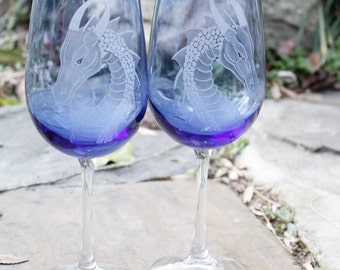 Four Personalized Blue Dragons  Wine glass set , Elegant Gift ideas , Wedding toast , Bridal Party , colorful wine glass fantasy art