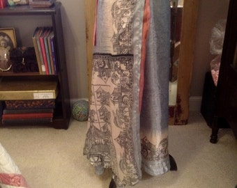 Vintage Silk and Rayon Kariza Wrap Around Reversable Two Layer Wrap Around Skirt One Size Fits All