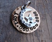 Pet Tag with Rhinestone Moon and Star, Dog ID Tag, Dog Tag  Pet Tag  Stamped Copper, Nickel or Brass