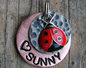 Dog Tag / Cat Tag / Pet Tag / Pet ID Tag / Mixed Metal Copper and Nickel Pet Tag with Ladybug Charm