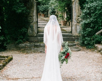 Silky cathedral length veil, silk tulle like fabric, ethereal, soft, bridal veil, covers face, blusher,long train, flowy, soft, ivory, white