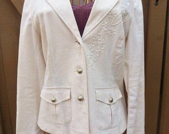 Embroidered Linen Jacket, Size 12, Ivory Jacket with Sequins and Laced Back