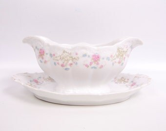 Vintage Weimar Germany Gravy Boat Attached Plate Embossed Hand Painted Floral Scalloped Edge Pink Blue Flowers
