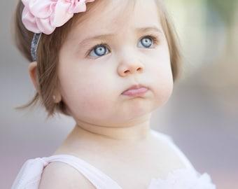 Pink Silver Gray Glitter Headband - Baby Headband -  Silver Metal Tone Rhinestone Center - Newborn Infant Baby Toddler Girls Adult Wedding