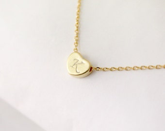 Initial necklace, Heart initial necklace, Personalized necklace, gold plating