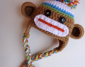 Ready to Ship- Newborn Boy Sock Monkey Hat- Brown, Blue, White, Orange, Green- Photo prop