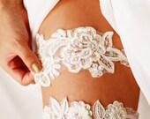 Bridal Garter Set Wedding Garter Lace Garter Set Garter Belt - Pearl Ivory Garters Belts - Keepsake Garter Toss Garter - Soft White Ivory