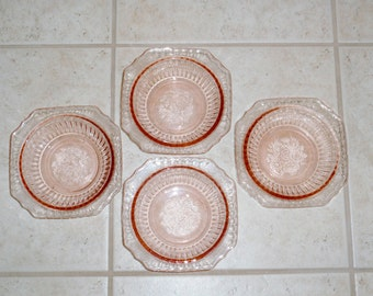 "4 MAYFAIR ANCHOR HOCKING Pink Depression Glass Cereal Dessert Fruit Salad Open Rose Crystal 5 1/2"" Square Flowers Etched Excellent Condition"