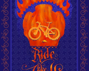 """motivational calligraphic slogan cycling poster/ illustration/ print, Ride Like Hell 9.5 X17"""""""