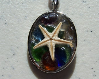 "STARFISH Bottoms up! Unusual to find this way; interesting; English Sea Glass(color:""rainbow""or""multi""),32""shell necklace 2.5"" drop.   24.00"
