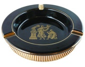 Vintage, 24k Gold Gilded, Black Ashtray, Footed Ashtray, Gold Gilded, Greek Scene, Made in Italy