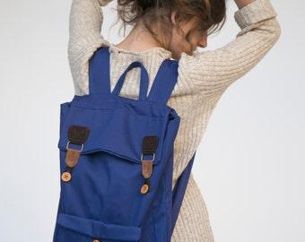 Blue Laptop backpack, Canvas Backpack, School Backpack, Men backpack, College Backpack, Fabric Backpack, Blue Laptop bag, Back to School