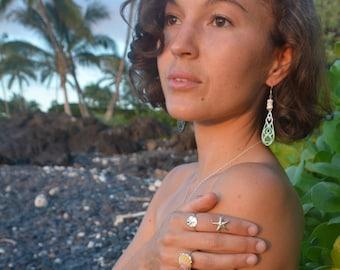 Puka Shells, Puka Shell Earrings, Shell Drop Earrings, Hawaii Made, Maui Made, Mother of Pearl Earrings, Pearl Earrings, Gift for Her