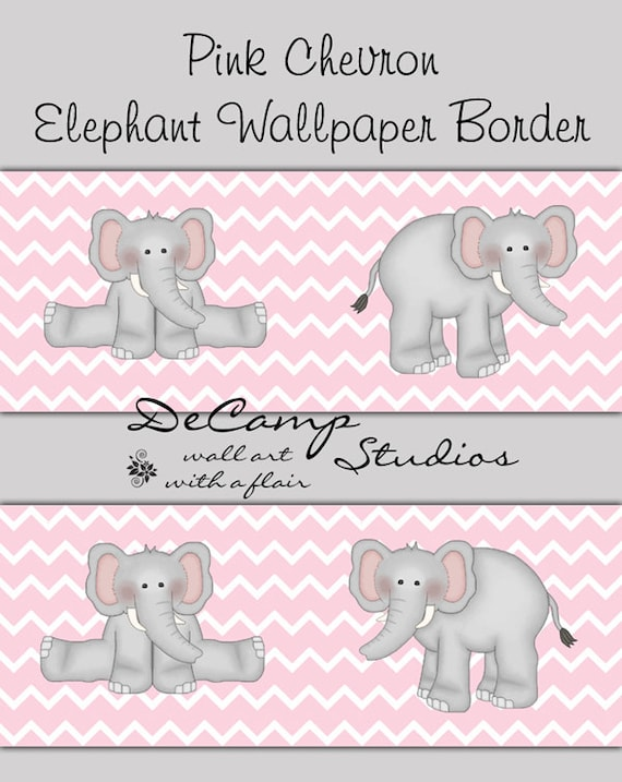 PINK GREY CHEVRON Elephant Wallpaper Border Wall Decals Girls Room Baby  Nursery Childrens Bedroom Kids Jungle. PINK GREY CHEVRON Elephant Wallpaper Border Wall Decals Girls