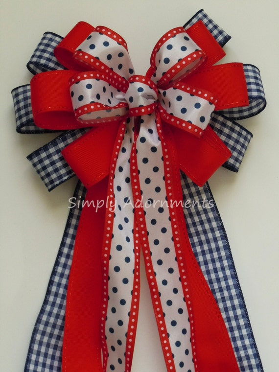 Red White Blue Bow July 4th Wreath Bow Patriotic Wedding Pew Bow Patriotic Gift Bow Fourth of July Party Decor