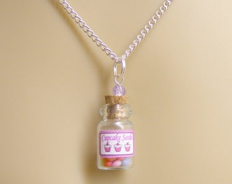 Food Jewelry Cupcake Seeds Necklace, Miniature Bottle Necklace, Wish Bottle, Polymer Clay Food Mini Food Jewellery Cupcake Charm Mini Bottle