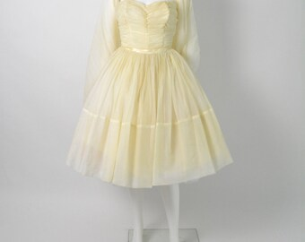 Vintage 1950s 50s Prom Dress Wedding Strapless Party Dress with Full Circle Skirt Size XS Petite