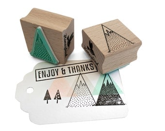 Mountain rubber stamp -  outline mountain ink stamp with snow - DIY mountain projects - Winter stamp