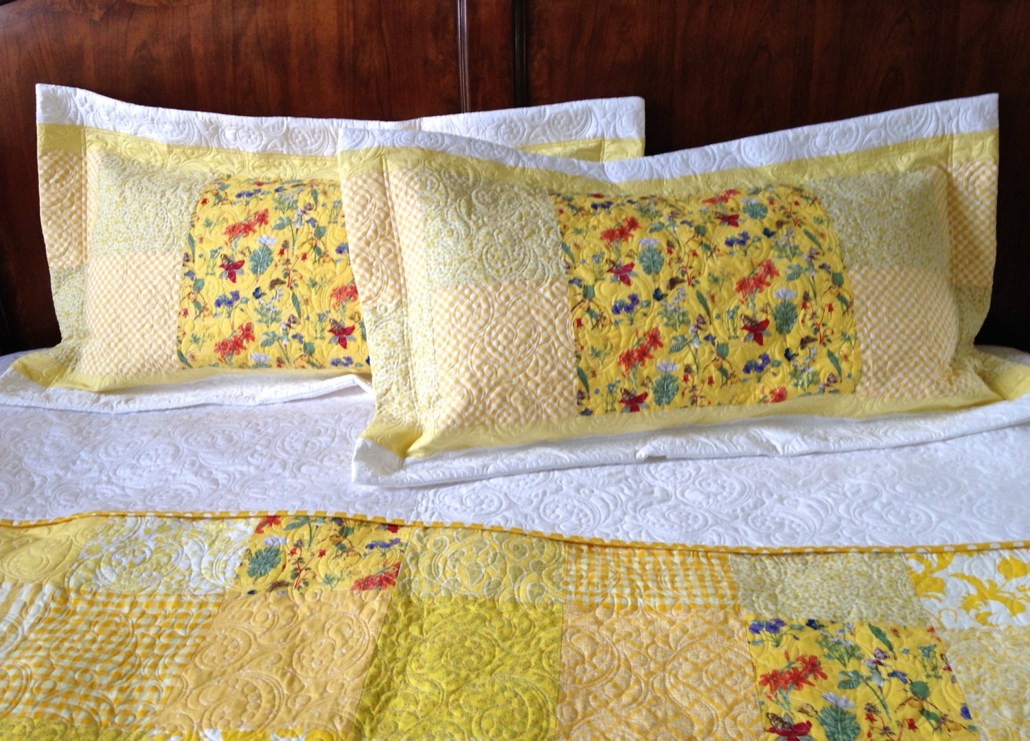 quilted pillow sham standard queen size by kimsquiltingstudio. Black Bedroom Furniture Sets. Home Design Ideas