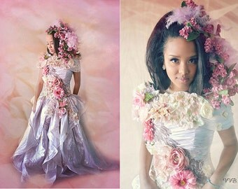 Floral, gown,dress, princess, Embellished,high fashion, couture,prom, wedding,vintage, flowers, rose