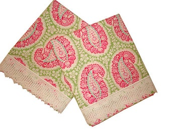Bohemian Paisley Pink and Green Cotton Pillow Cases with Geometric Lace Trim