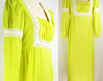 vintage 70s Bright Yellow MAXI Dress wide lace accent empire Juliet ~POMMY Jrs.~