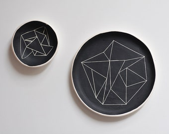 set of two BW black ceramic plate and saucer with black geometry ornament abstract pattern contemporary minimalism style black and white