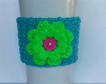 Crocheted Summer Flower Coffee Cup Cozy Turquoise and Neon Green
