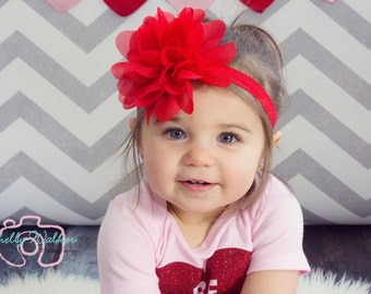 Big Red Baby Headband Newborn Headband Toddler Headband Baby Bow Hairbow Hair Bow Baby Girl 1st Birthday Cake Smash Flower Headband Infant