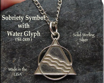 Sterling Silver Sobriety Necklace, AA Pendant with Water Glyph of Transformation, Pagan AA Jewelry, Recovery Necklace - SE-2455
