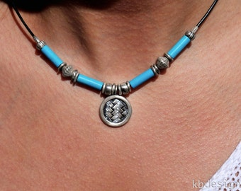 Turquoise Necklace, Turquoise and Sterling Pendant Necklace, American Turquoise Bead Necklace  kbdesignsetc