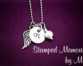 Memorial Necklace - Infant or Child Loss Jewelry - Hand Stamped Stainless Steel - Angel Wing with Pearl or Birthstone Accent - Personalized