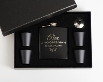 5, Personalized Groomsmen Gift, Flasks, Engraved Flask Set, Groomsmen Flasks,5 Flask Sets