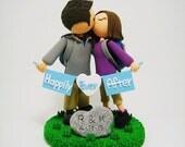Avid hikers custom wedding cake topper